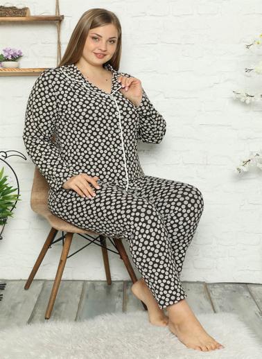 Akbeniz Kadın Pamuklu Cepli Uzun Kol Büyük Beden Pijama Takım 202045 Kahve